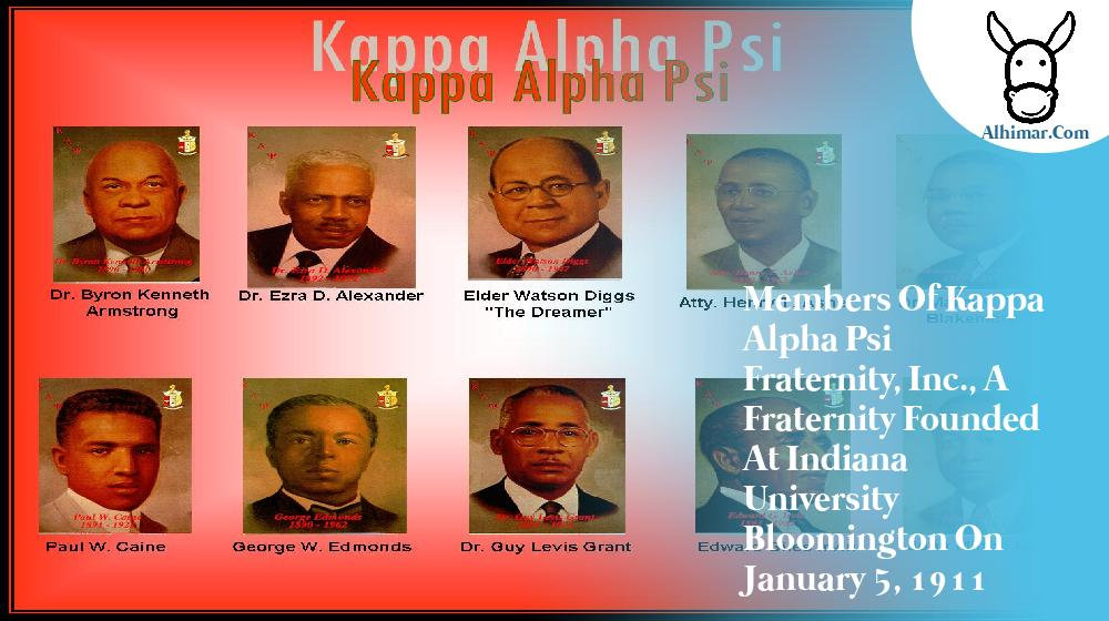 Members of Kappa Alpha Psi Fraternity, Inc., a fraternity founded at Indiana University Bloomington on January 5, 1911