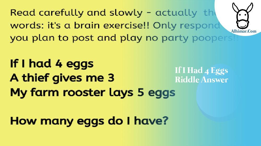 if i had 4 eggs riddle answer
