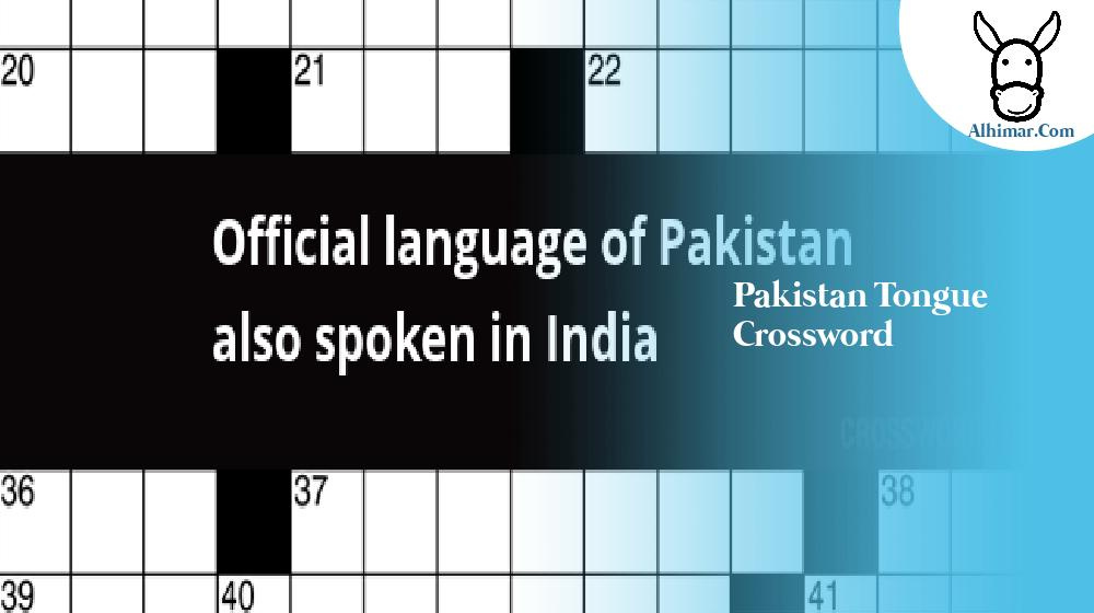 pakistan tongue crossword