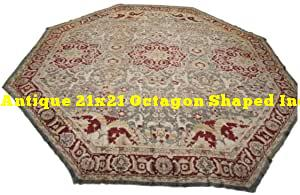 Antique 21×21 Octagon Shaped Indian Agra Area Hand-Knotted Wool Carpet, Circa 1880. Currently unavailable in Amazon?