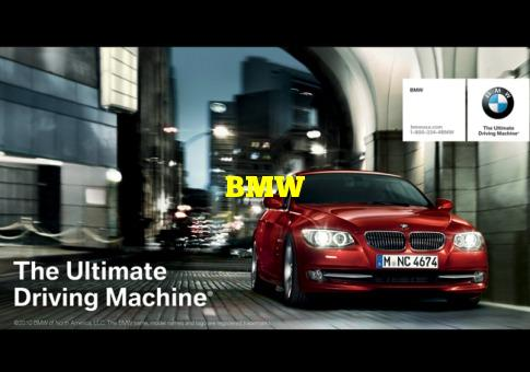 """Question: Which automobile manufacturer is known as """"The Ultimate Driving Machine""""? BMW"""