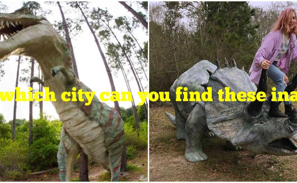 In which city can you find these inaccurate dinosaur sculptures?