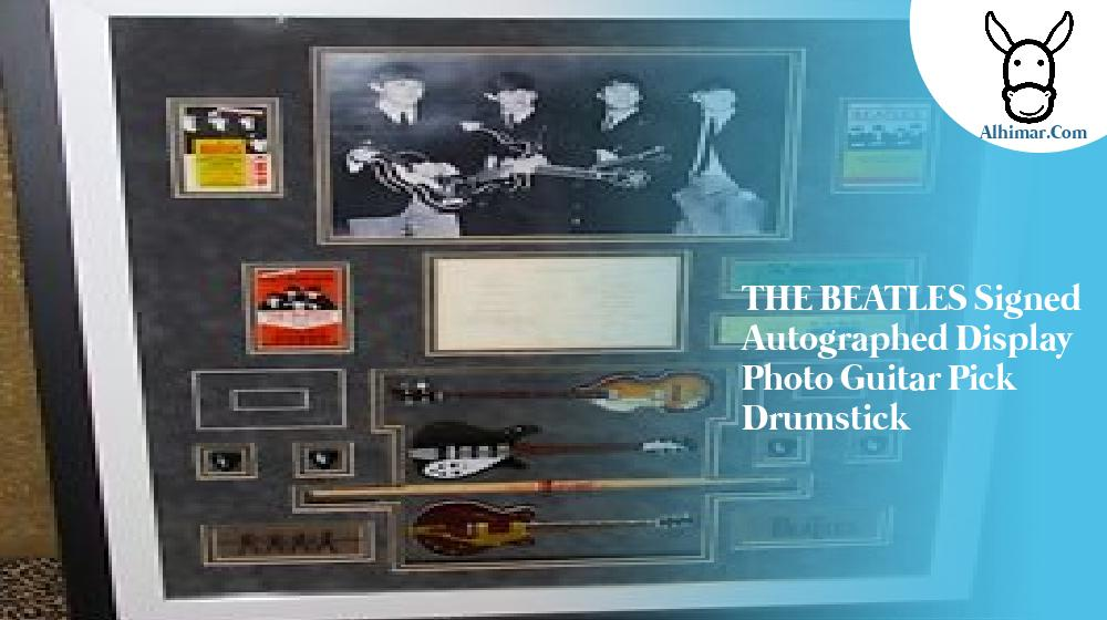 THE BEATLES signed autographed display photo guitar pick drumstick