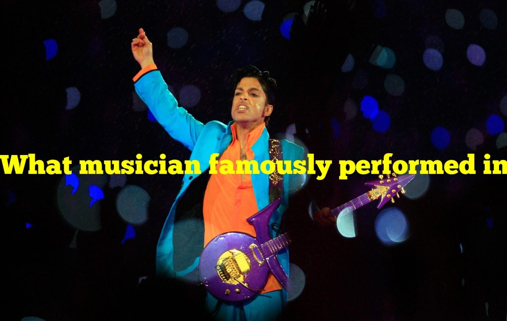 What musician famously performed in a downpour during a halftime show?