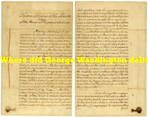 Where did George Washington deliver the first inaugural address?