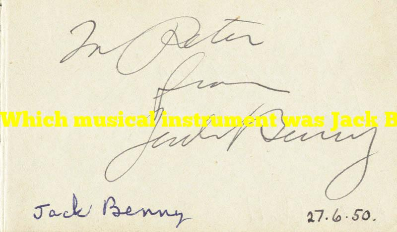 Which musical instrument was Jack Benny's favorite?