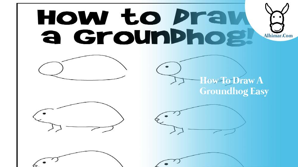how to draw a groundhog easy