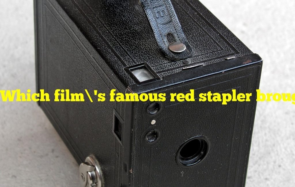 Which film's famous red stapler brought the discontinued color back into production?
