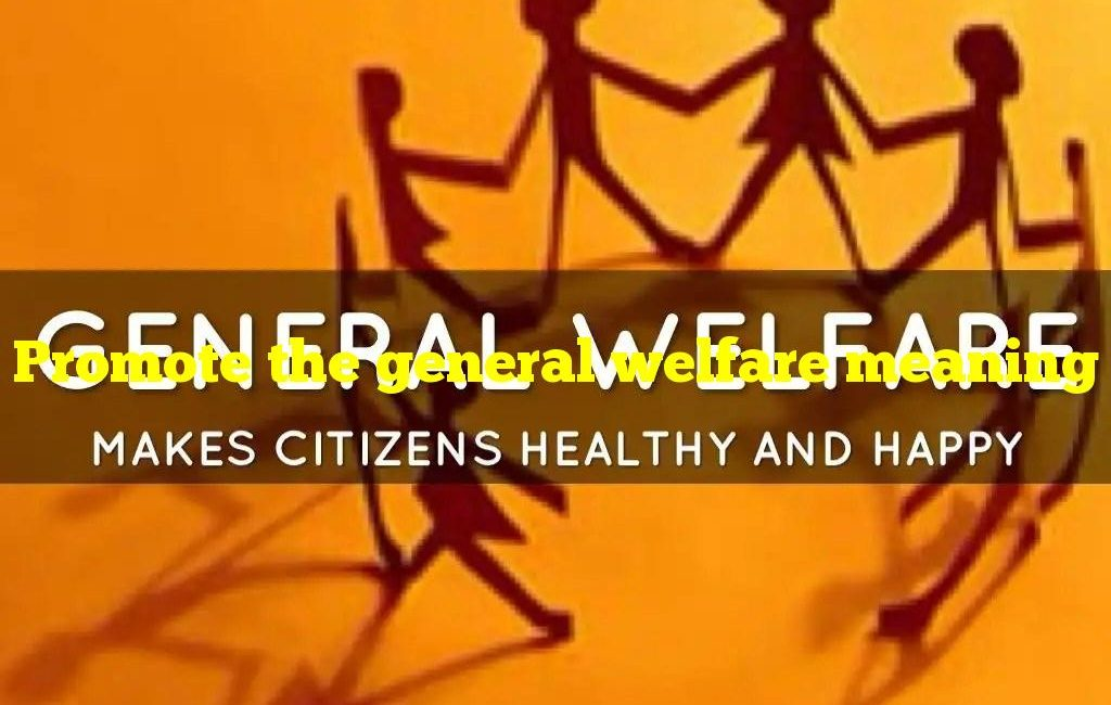 Promote the general welfare meaning